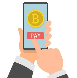 Online bitcoin payment concept. Businessman holding smartphone with bitcoin currency. Vector flat illustration eps10