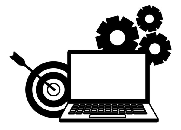 laptop target gears search engine optimization vector illustration
