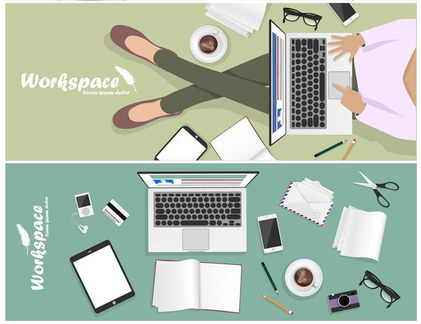 set of workspace banner for facebook Poster vector Design